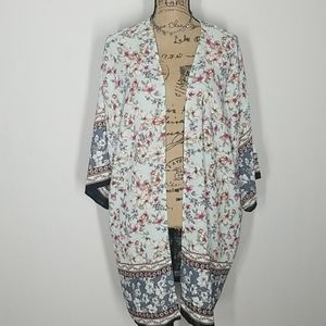 Sweaters - Open Kimono with Floral Print
